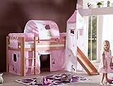 Hochbett ALEX Kinderbett mit Rutsche Spielbett Bett Natur Stoffset Prinzessin