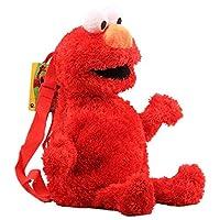EU_LevinArt Anime Sesame Street Plush Backpack Cartoon Elmo Cookie Monster Big Bird Stuffed Backpack 46 cm 18 inch Cool Schoolbag (red)