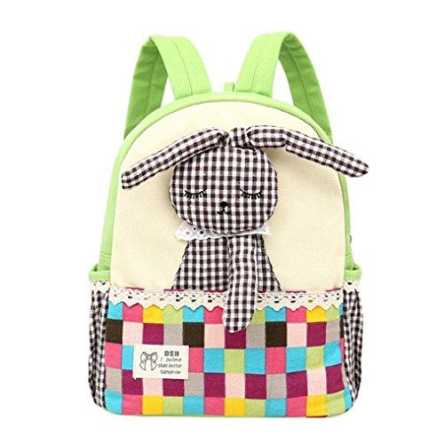 Ularma Mädchen Kaninchen Muster Karo Tiere Rucksack Kleinkind Schule Tasche Grün