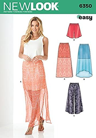 New Look 6350 Size A Misses' Skirt and Wide Leg Cropped Pants or Shorts Sewing Pattern, Multi-Colour by New Look
