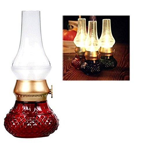 Bellabrunnen LED Tischlampe Klassische Lampe, Retro Vintage Laterne Blow LED mit Lithium-Akku USB-Kabel , LED Stimmungslampe, Nostalgie Licht, romantische Atmosphäre, Nachttischlampe für Camping ,BBQ, Party, Kinderzimmer (Rot)