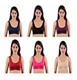 #10: lenceria Stretchable Daily wear Air Bra Sports Bra for girls and women combo of 6