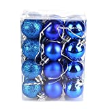 Weihnachtsbaum-Kugeln, XGZ-Weihnachtsbaumschmuck, Kunststoff-Ball, Glitzer, für Festival-, Party-, Garten-Dekorationen, 3cm, 24 Stück blau