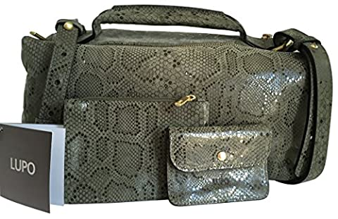 LUPO Barcelona Ladies Bag Máxima Verde Musg Shoulder bag / Top Handle Bag, Genuine Leather Reptile Print, Khaki; Dimensions (LxHxW): 31 x 20 x 14 cm - One Size; Model No. 1100820-202-120 AW14-15