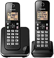PANASONIC Expandable Cordless Phone System with Amber Backlit Display and Call Block – 2 Handsets – KX-TGC352B