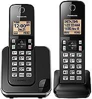 نظام هاتف PANASONIC القابل للتوسيع مع شاشة بإضاءة خلفية كهرمانية ومكتل مكالمات، سماعتان – KX-TGC352B (أسود)