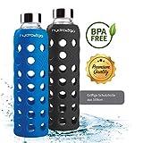 hydro2go Sport Trinkflasche - aus Glas 550 ml - getestet BPA Frei und 100% auslaufsicher - Premium Glasflasche mit Silikonhülle für unterwegs, Smoothies, Büro, Fitness, Yoga & Sport