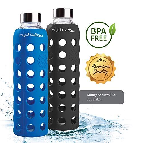 hydro2go Sport Trinkflasche - aus Glas 550 ml - getestet BPA Frei und 100{3afec8b51d10fd59725414d7a7bb6799bf25ef0a138a616af2b578027cc6f72a} auslaufsicher - Premium Glasflasche mit Silikonhülle für unterwegs, Smoothies, Büro, Fitness, Yoga & Sport