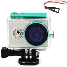 First2savvv XM-FSK-06BS Carcasa Recubrimiento Protectora Prueba Agua para Cámara Xiaomi Yi Action verde + Llave Llave