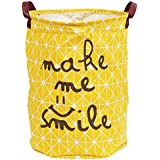Story@Home European Style Multipurpose Round Shape Foldable Open Fabric Laundry Bag with Carry Handle, Yellow
