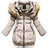 Brinny Daunenjacke Kinder Mädchen Winterjacke Fellkapuze Verdickung Lang Jacket Wintermantel Mantel Trenchcoat Parka Outerwear Oberbekleidung Winter Kunst Pelz