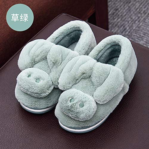 (WXMTXLM Baumwollhausschuhe weibliche Wintertasche mit Paaren nach Hause rutschfeste warme Kinder niedliche Mond Baumwollschuhe Männer plus Größe 37-38, Grasgrün)