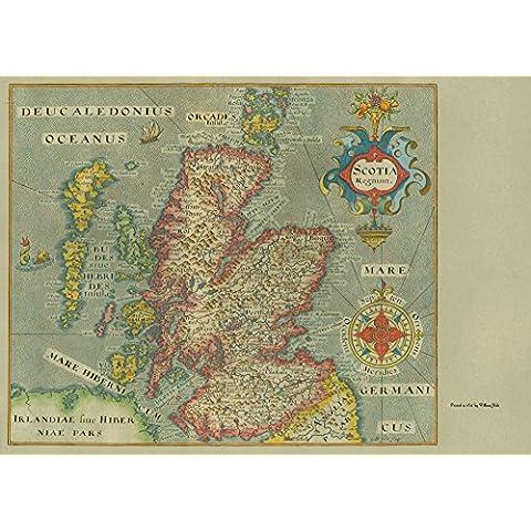 De mapamundi antiguo de of SCOTLAND 1637 250gsm cuadro decorativo brillante A3 de diseño de