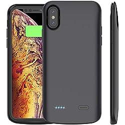Cocoda Coque Batterie iPhone XS Max, 6000mAh Coque Chargeur de Protection Batterie Externe Magnétique Portable Rechargeable Apple iPhone XS Max 6.5 Pouces (2018) (Noir)