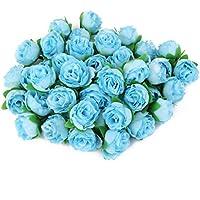 50pcs 3cm Rosas De Seda Artificiales Cabezas De Flores De Decoracion De La Boda Azul