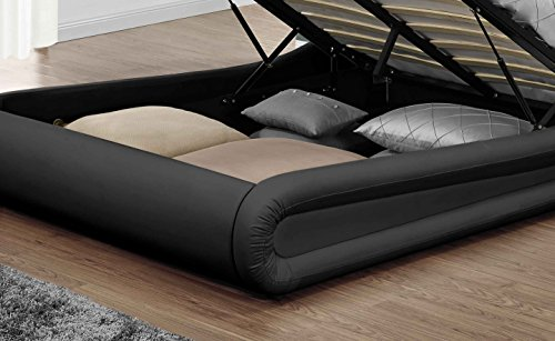 Unmatchable Designer Ottoman Bed Frame in Multiple Sizes & Black and/or White Faux Leather (King Size 5FT, Black)