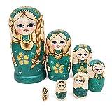 KOBWA Puppen Russisch 7-teiliges handgefertigtes Spielzeug Holz stapelbar verschachtelt Set für...