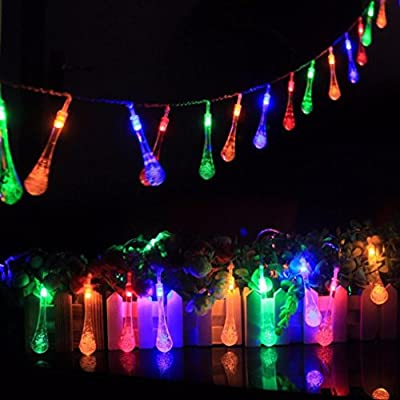 Toamen Colorful Glow 15m 10led Water Drop String Lights Party Wedding Decor Lights Multicolor by Toamen