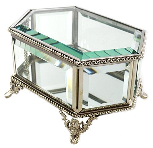 Hestia Teelichthalter, Metall, Seil &abgeschrägtes Glas, sechseckig, Schmuckkoffer Schmuckkästchen