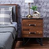 Major-Q 61cm H skandinavischer Stil Walnuss-Finish Holz Sandy Schwarz Metall Bein Ende Tisch, 9080577
