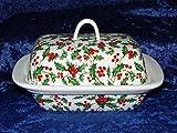 Weihnachten Holly Butterdose–Helle Grün und Rot Holly Design auf weiß Porzellan Butterdose dekoriert auf Deckel und Seiten