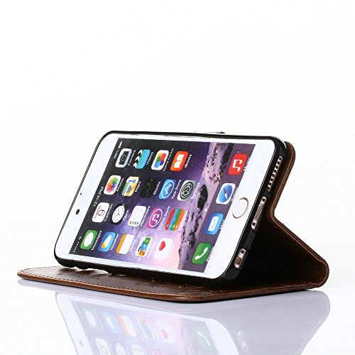 iPhone 6Plus/6S Plus 14cm Étui portefeuille en cuir PU couverture de livre, newstars léger Étui à rabat pour Téléphone portable Motif floral Mobile Protéger Peau Étui en cuir pour Apple iPhone 6Plu marron