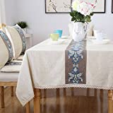 Hctina Imitación de estilo europeo moderno bordado mantel de lino paño rectangular azul 130x180cm