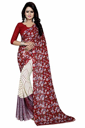 Ishin White & Pink Faux Georgette Party Wear Festive Wear casual Daily Wear Bollywood New Collection Printed Latest Design Trendy Women's Saree/Sari  available at amazon for Rs.399