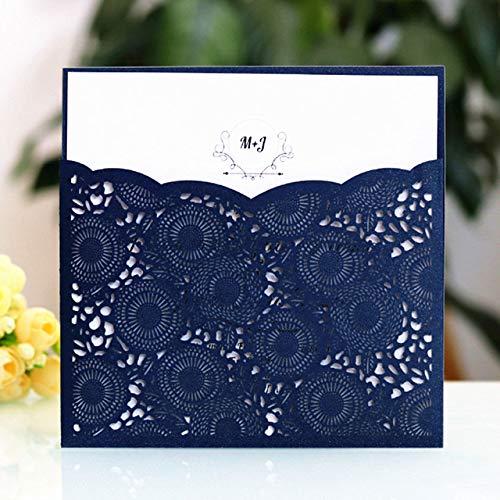 MegOK Elegant Pocket Invitation Envelop Laser Cut Wedding Birthday Kids Invitation Flame White Burgundy Blue Purple Party Supply,Navy Blue,Laser Cutting Card (Pocket White Einladungen)