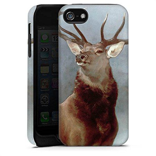 Apple iPhone 4 Housse Étui Silicone Coque Protection Cerf Forêt Nature Cas Tough terne