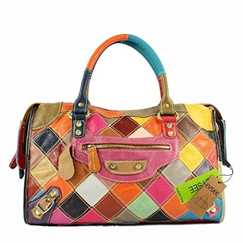 Damen Casual Rind Leder Umhängetasche Handtaschen Henkeltaschen Schultertasche Collage Gradient (bunt) (Mode 4)