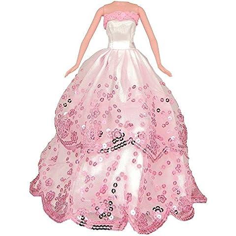 Barbie ropa para muñecas, MyCity de las lentejuelas encargo de los vestidos vestidos de novia hechos a mano para muñecas