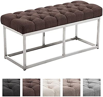 CLP Banco AMUN con tapizado en tela y acolchado, tres medidas diferentes 100, 120 y 150 x 40 cm, altura del asiento 45 cm. Estructura en acero inoxidable mate