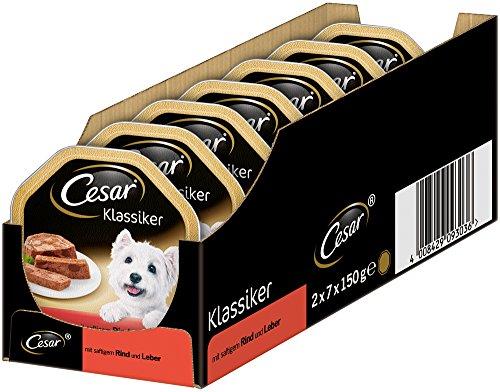 Cesar Hundefutter Nassfutter Klassiker mit saftigem Rind und Leber, 7 er Pack (7 x 2 Schalen x 150 g)