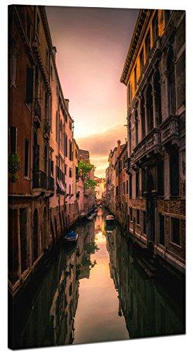 XXL Wandbild, Keilrahmenbild 100x50cm, enge Gasse bei Sonnenuntergang in Venedig, Wanddeko Ideen -...