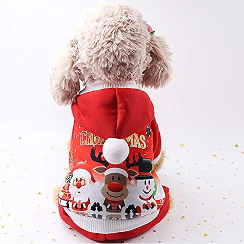 (FUVOYA Niedliche HundeBekleidung Pyjamas lustige Weihnachts-Knopf Kleidung)