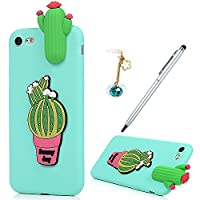 iPhone 7 Case,iPhone 8 Case, Badalink 3D Cute Soft Silicone Toy TPU Cover Case Flexible Rubber Bumper Case Grip Shell Funny Case For iPhone 7/iPhone 8 with 1 Touch Pen & 1 Dust Plug,Cactus