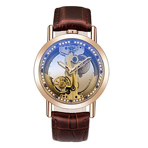 Liandd Automatische Uhr mechanische transparente Brücke Clockman Diamond Dial Skeleton Armbanduhr für Männer,C (Brücke Zu Unserer Liebe)