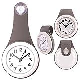 TXXCI Badezimmer wasserdicht Wanduhr Uhr Saugnäpfe Nicht-Tickende Badezimmeruhr - Grau