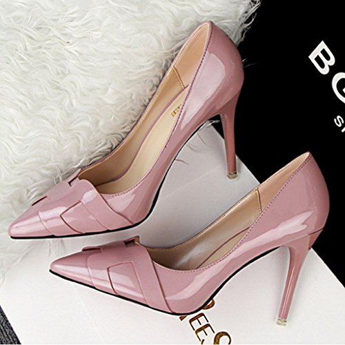 Minetom Damen Frühling Stylish Geschlossene Pumps Spitz High Heels Kleid Partei Stiletto Schuhe Violett
