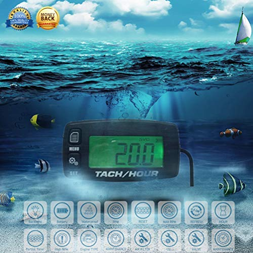 KKmoon Induktive Drehzahlmesser hintergrundbeleuchtete LCD wasserdicht 2//4 Takt Motor f/ür alle Benzinmotor ATV UTV dirtbike Motorrad Motorrad-Au/ßenborder Schneemobil pitbike PWC Marine Boot