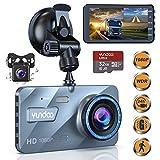 """YUNDOO Dash Cam Telecamera per Auto Anteriore e Posteriore 1080P FHD 4""""IPS schermo con scheda SD da 32 GB, Grandangolo 170 °, Sensore G, Registrazione in loop (Dash Cam-2)"""