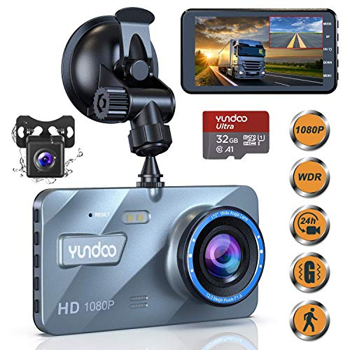 Dash Cam Front and Rear,Dash Cams for Car 1080P Full HD 4'' Big IPS Screen Aluminum Alloy Car Camera with 32GB SD Card 170°Wide Angle,G-Sensor,Loop Recording,Night Vision,Motion Detection