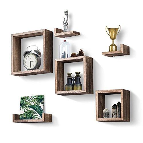 Love-KANKEI QUADRAT Wandregale Schweberegale Holz Aufbewahrungsregale, Wand Deko, 7er Set(3 Quadrat+ 4