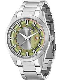 Police R1453243001 - Reloj con correa de cuero para hombre, color verde / gris
