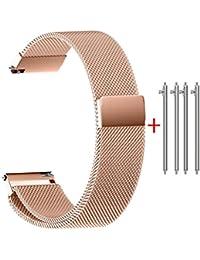 Zolimx Correa Reloj de Acero inoxidable Repuesto Correa Compatible con Smartwatch,14/16/18/20/22mm (20mm, Oro rosa)