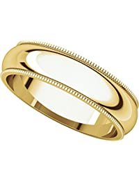 9ct Yellow Gold, Milgrain Wedding Band 5MM (sz H to Z5)