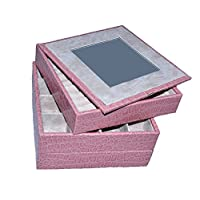 Faux Leather Jewellery Box-Pink Frame