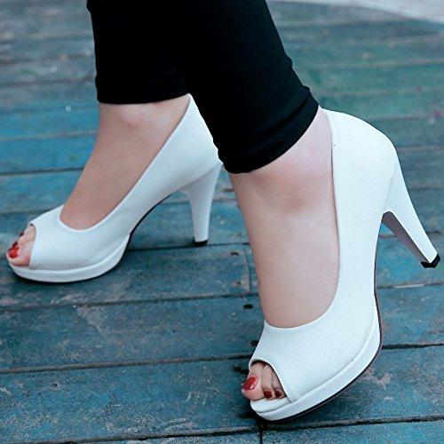 COOLCEPT Femmes Mode Slip On Sandales Peep Toe Conique Chaussures Blanc
