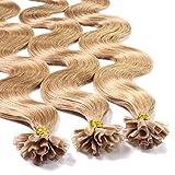 hair2heart 50x Bonding Extensions de mèches de cheveux véritable, 50cm, 1g, ondulés–Couleur 12Blond Miel